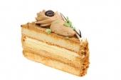 Mokkapunt luchtig cakebeslag gevuld en opgemaakt met mokkaslagroom.