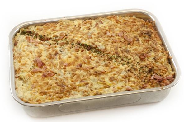 Gebakken aardappel met spek/ui
