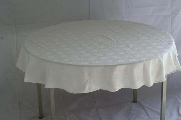 Tafel (ø120) met kleed crème